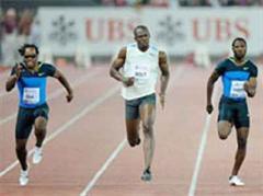 Walter Dix (USA), Usain Bolt (JAM) und Richard Thompson (TRI).