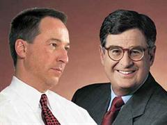 Jens Alder (l), CEO Swisscom AG, und Samuel J. Palmisano, CEO IBM. (Montage)